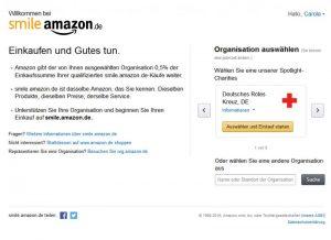 Startseite von Amazon Smile