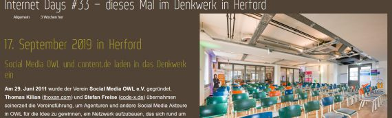 Veranstaltungstipp: Internet Days #33 in Herford